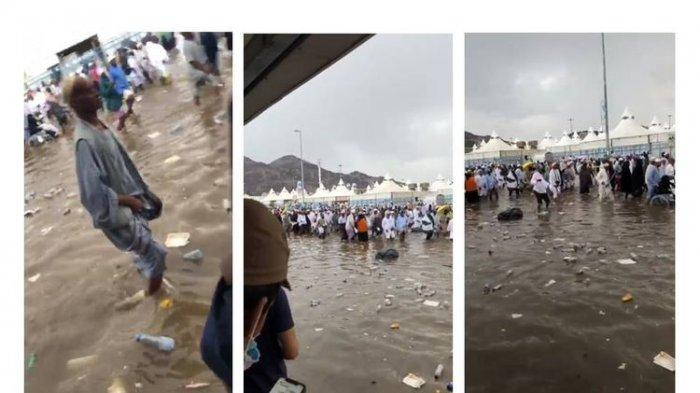 Mina banjir saat jamaah haji ibadah lempar jumroh di Makkah